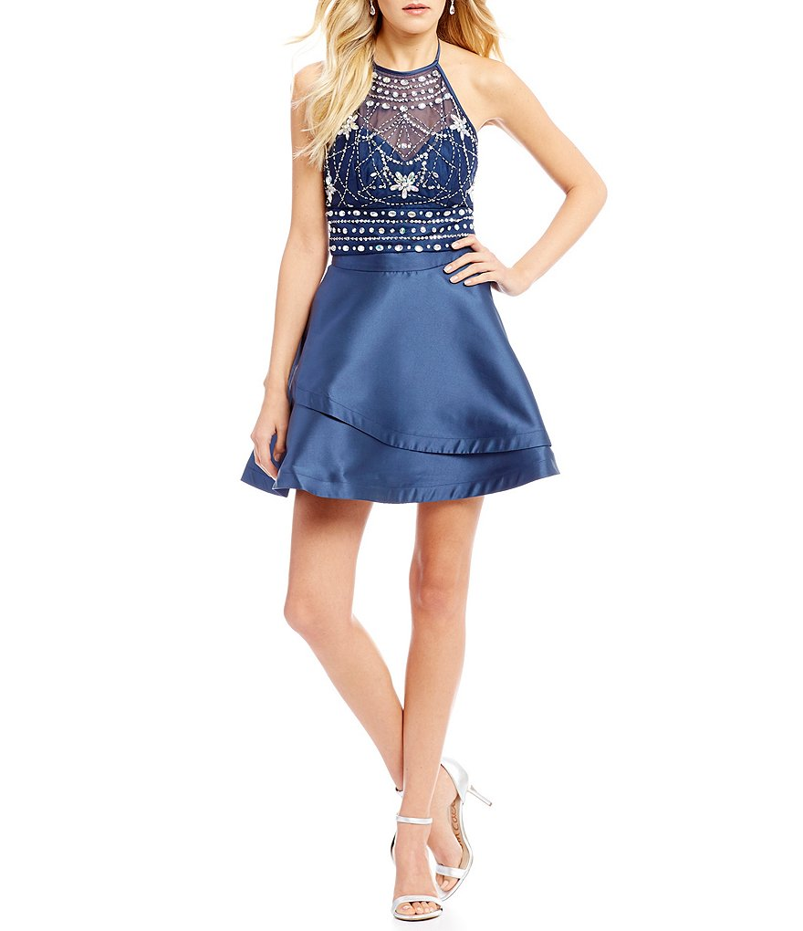 B. Darlin Beaded Top with Tiered Skirt Two-Piece Dress
