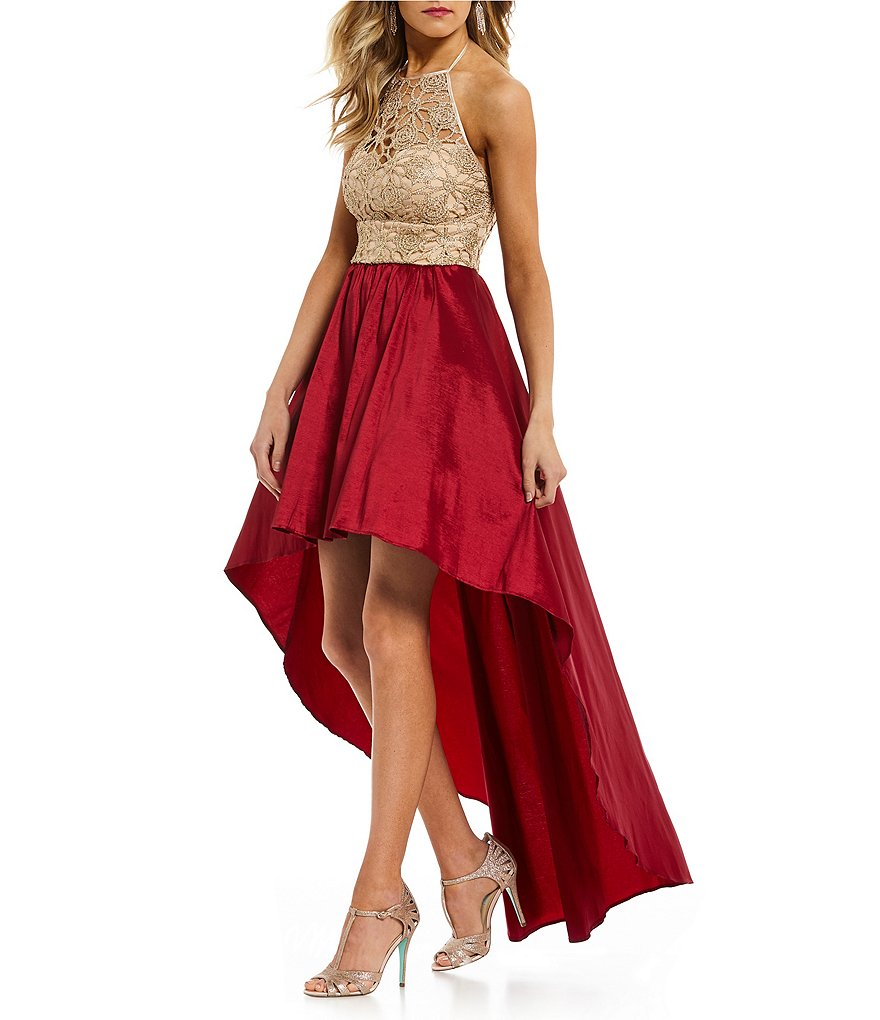 B. Darlin Chain Lace Long High-Low Dress