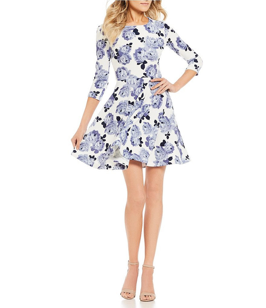 B. Darlin Floral Print Fit-And-Flare Dress