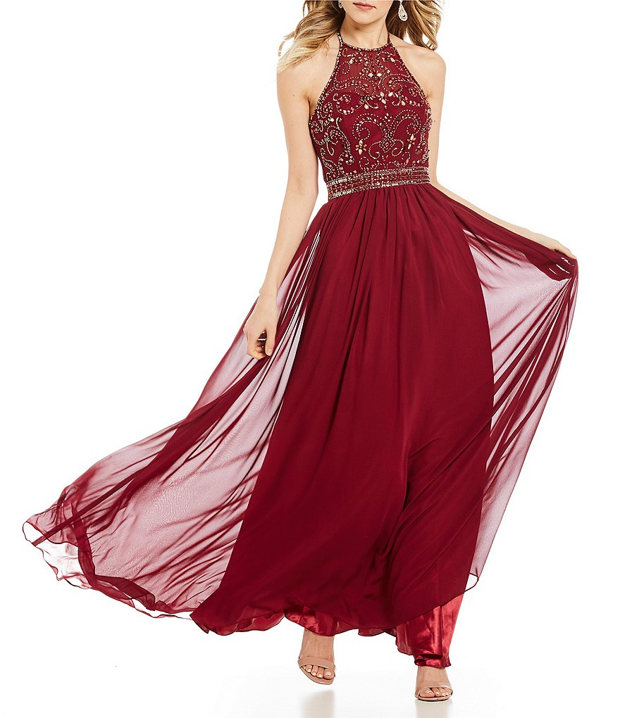 B. Darlin Halter-Neck Beaded Bodice Long Dress
