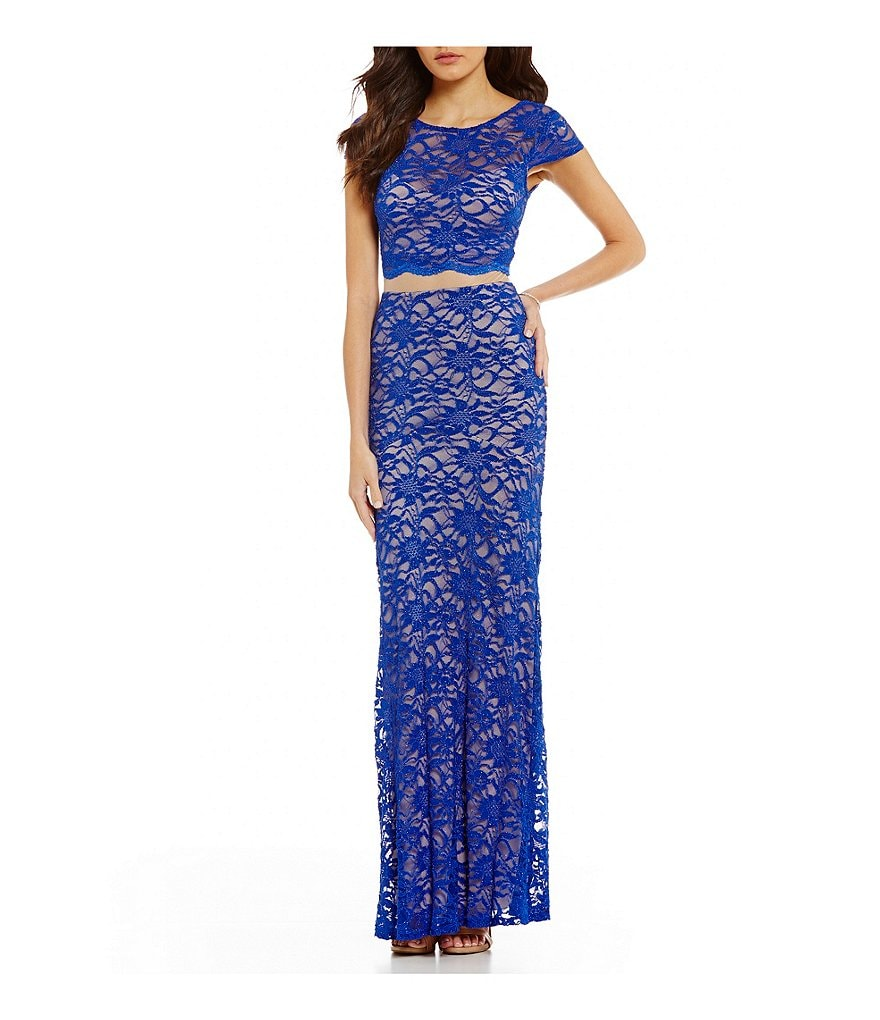 B. Darlin Illusion-Waist Glitter Lace Long Dress