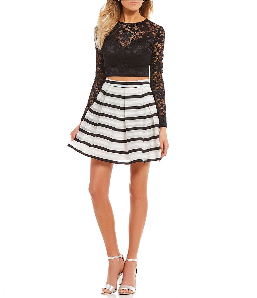 B. Darlin Lace Top with Striped Skirt Two-Piece Dress