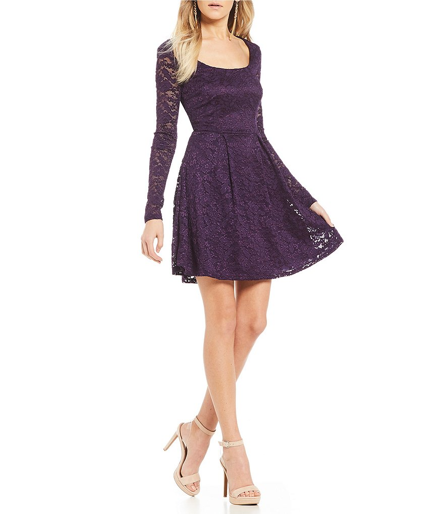 B. Darlin Lace-Up Back Lace A-Line Dress