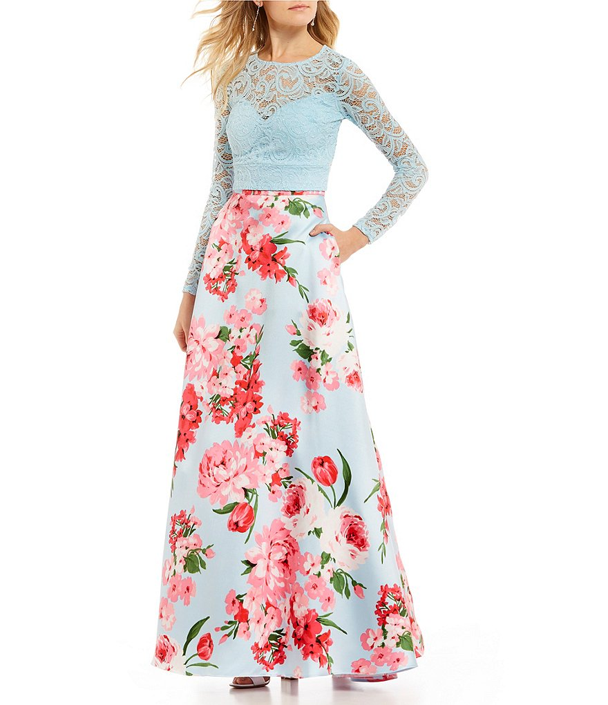 B. Darlin Long Sleeve Lace Top with Floral Skirt Two-Piece Ball Gown