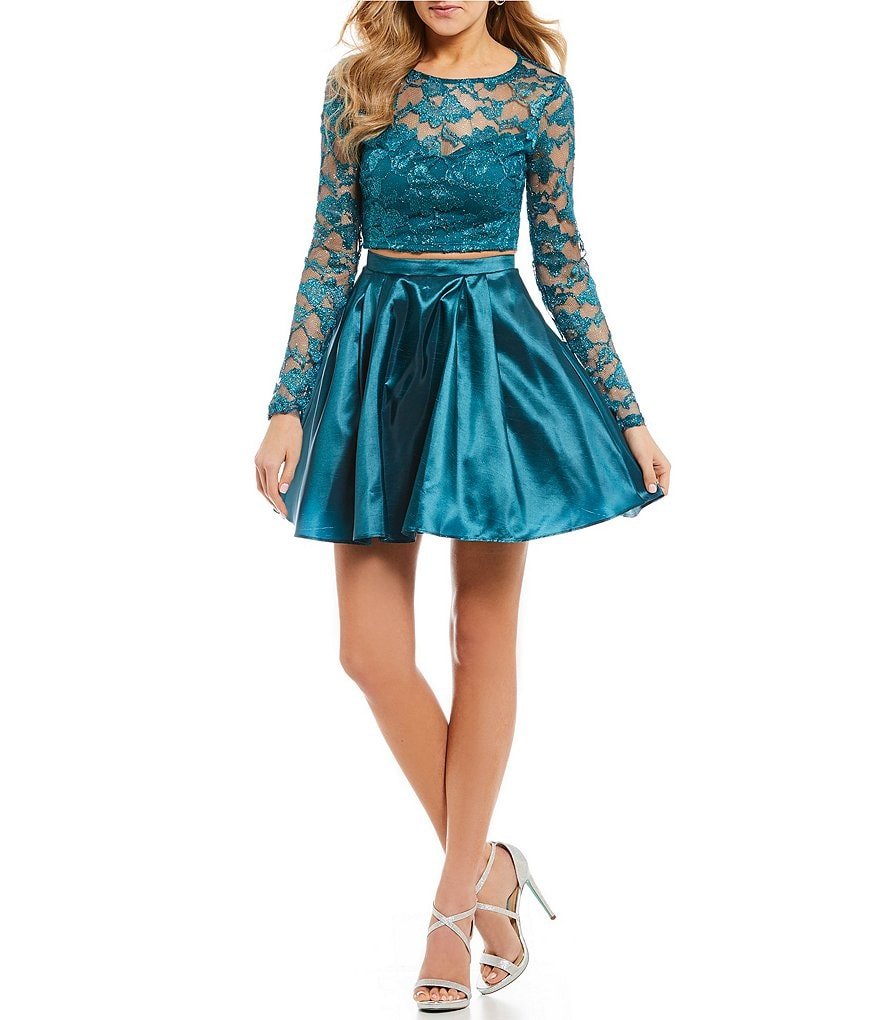 B. Darlin Long Sleeve Lace Top with Satin Skirt Two-Piece Dress