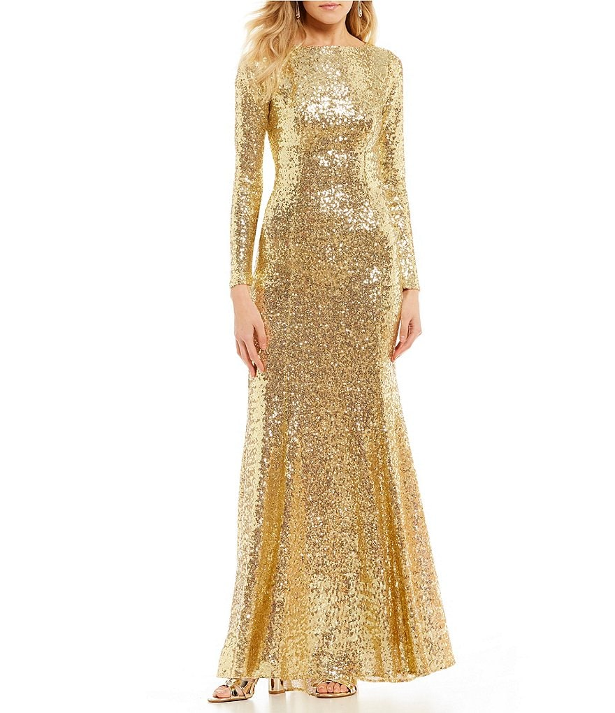 B. Darlin Long Sleeve Sequin Long Dress