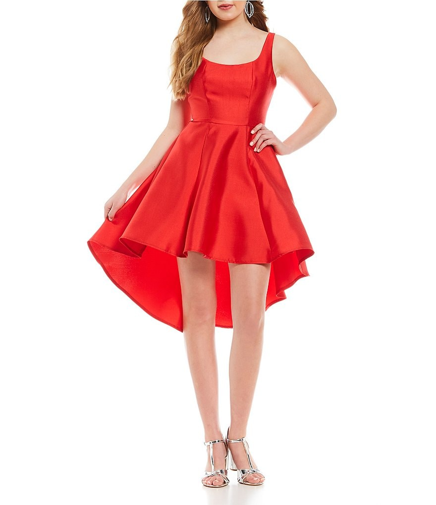 B. Darlin Low Scoop Back High-Low-Hem Dress