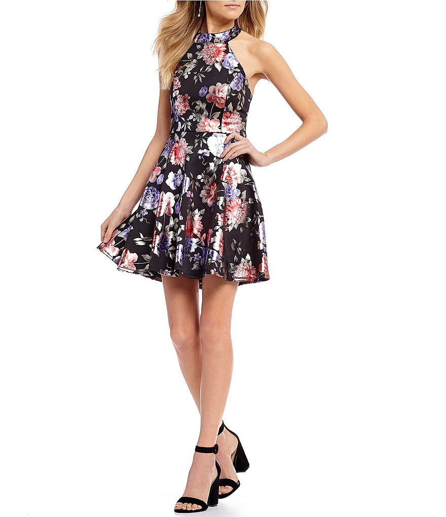 B. Darlin Metallic Floral Print Fit-And-Flare Dress