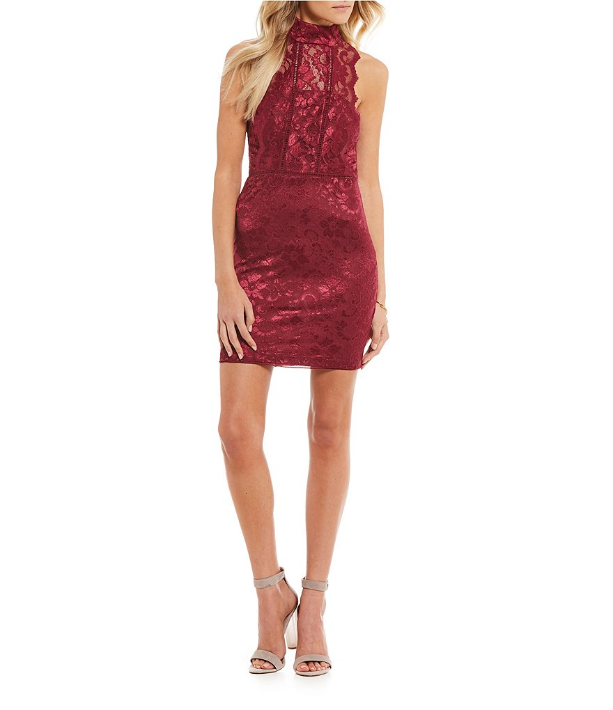 B. Darlin Mock Neck Lace Sheath Dress