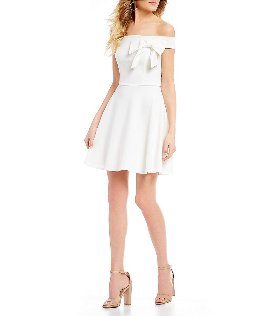 B. Darlin Off-The-Shoulder Bow Neckline Dress