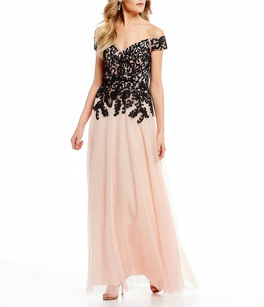 B. Darlin Off-The-Shoulder Embroidered Ball Gown