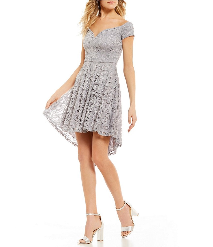 B. Darlin Off-The-Shoulder Lace Fit-And-Flare Dress