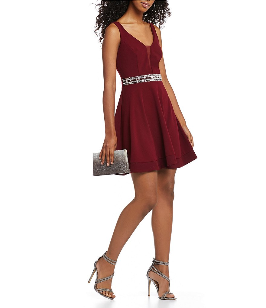 B. Darlin Plunging V-Neck Fit-And-Flare Dress