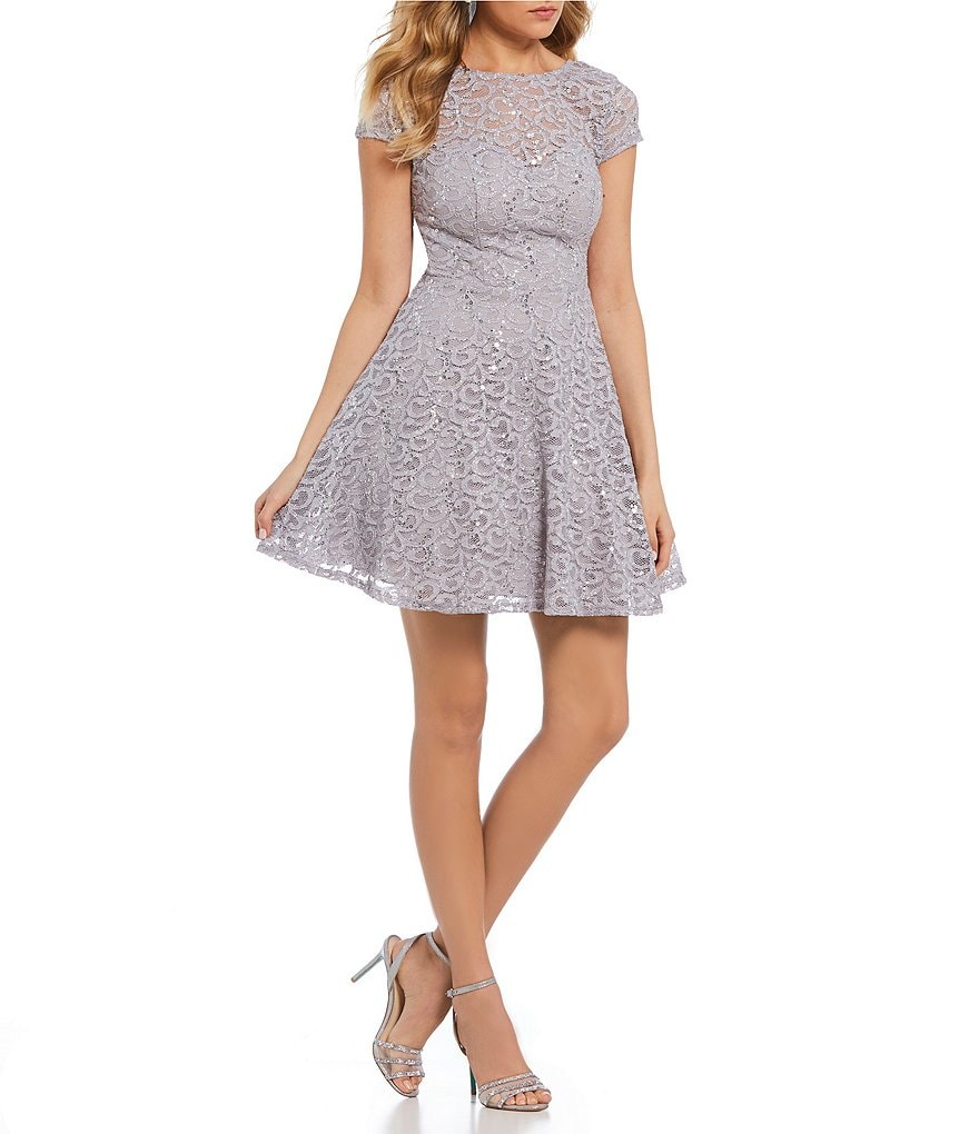 B. Darlin Sequin Lace Fit-and-Flare Dress