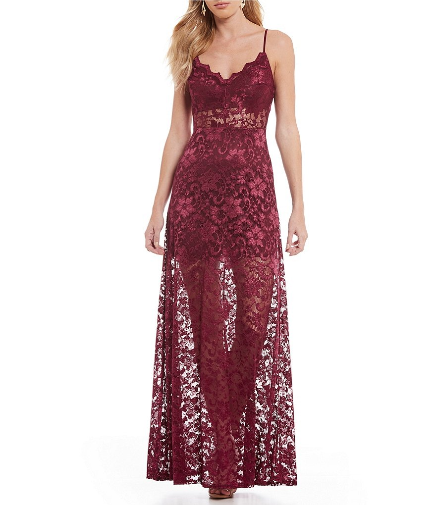 B. Darlin Spaghetti-Strap Long Lace Dress