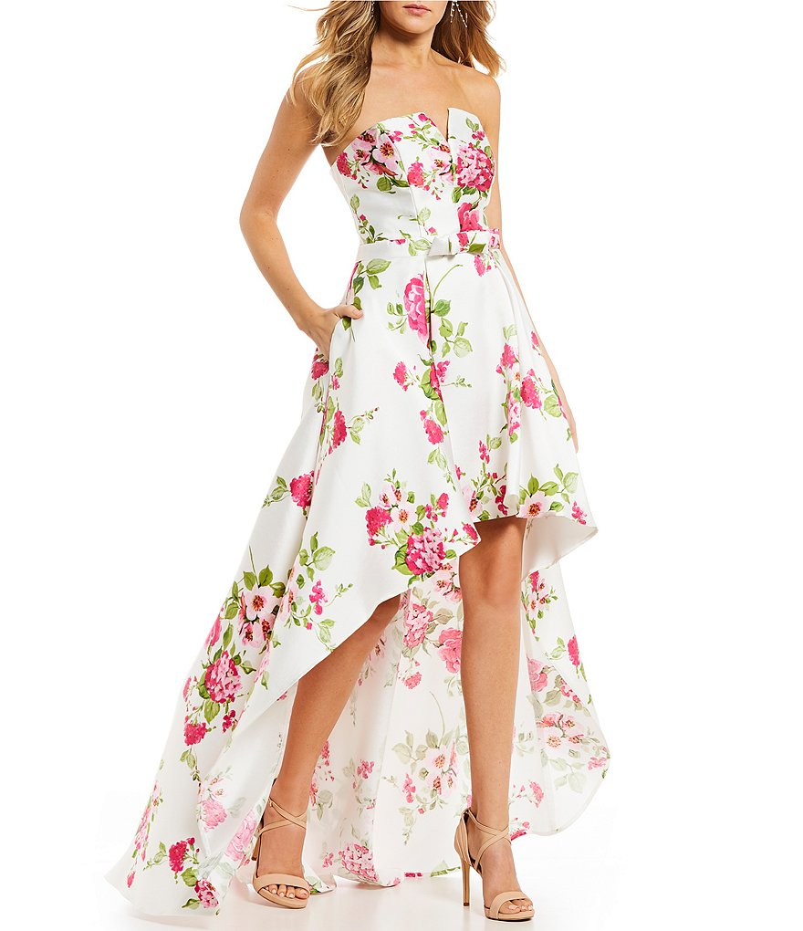 B. Darlin Strapless Floral Print High-Low Dress