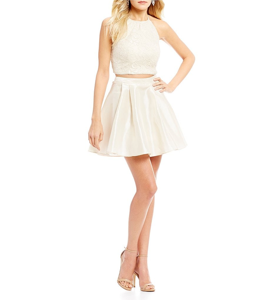 B. Darlin Two-Piece Foil Lace Top Party Dress