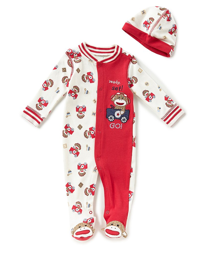 Baby Starters Baby Boys 3-9 Months Sock Monkey Footed Coverall & Matching Hat Set