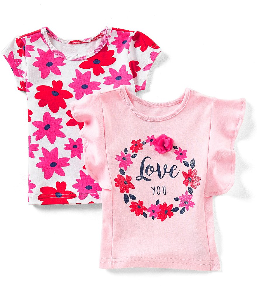 Baby Starters Baby Girls 12-24 Months Love You 2-Pack Tees
