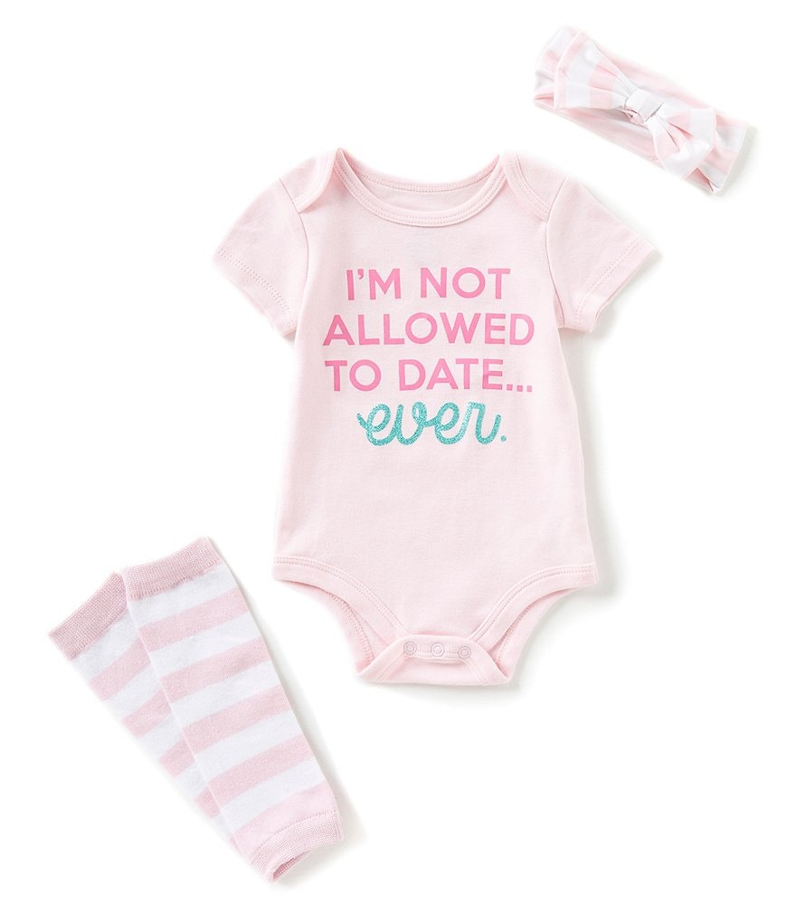 Baby Starters Baby Girls 3-12 Months Not Allowed To Date Short-Sleeve Bodysuit