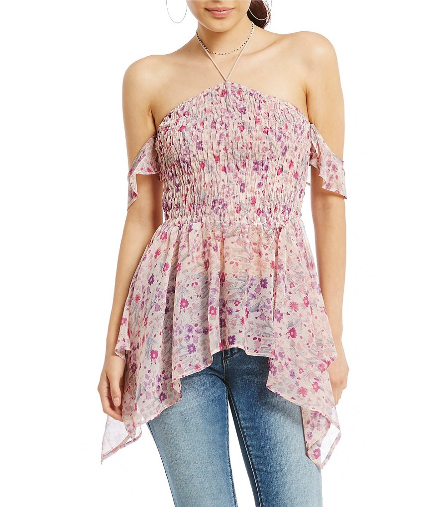 Ban Jara Cold Shoulder Floral-Print Smocked Halter Top