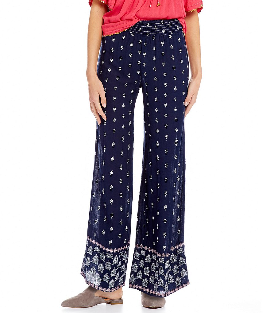 Ban Jara Embroidered Smocked Waist Wide Leg Pants