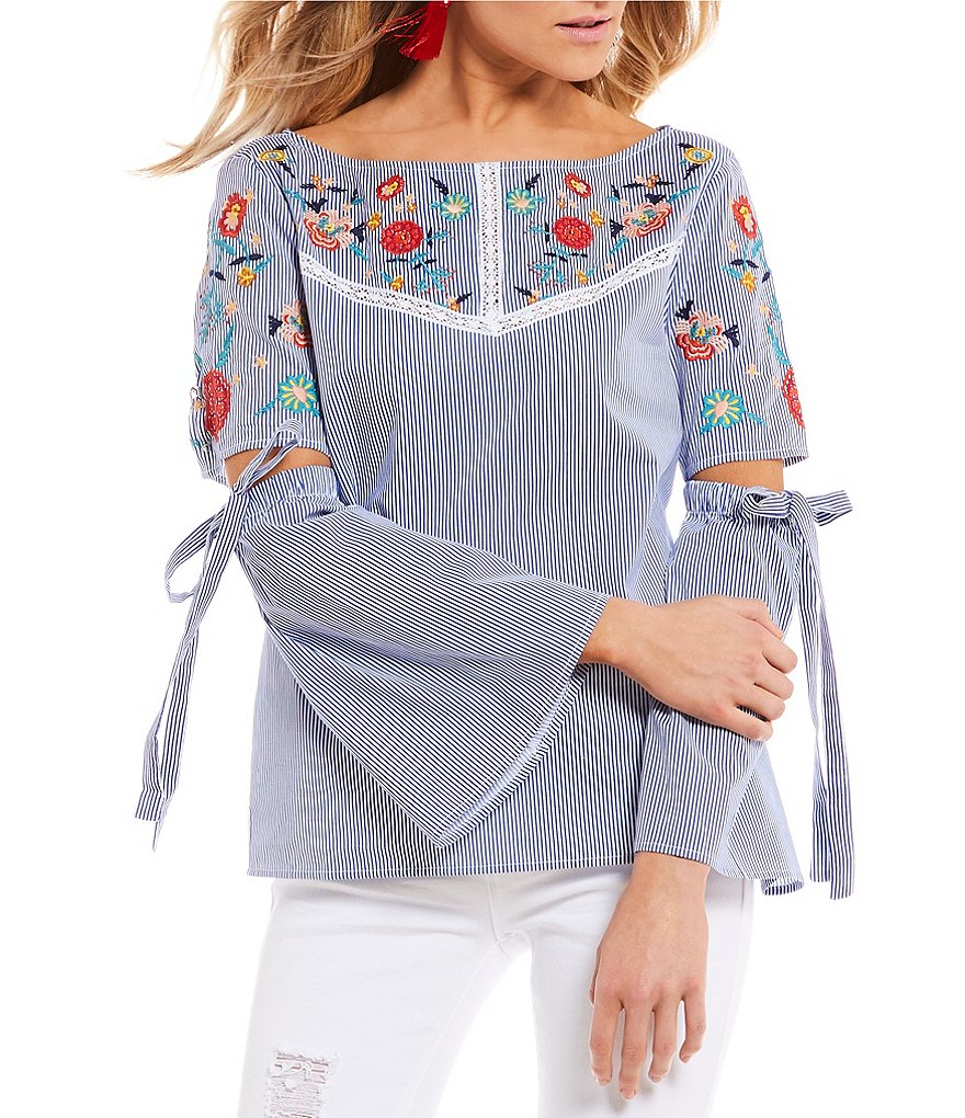 Ban Jara Floral-Embroidered Striped Poplin Bell Sleeve Top