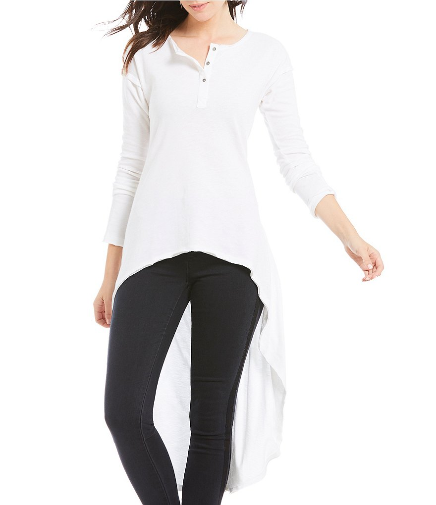 Ban Jara Henley Long Sleeve High-Low Knit Top