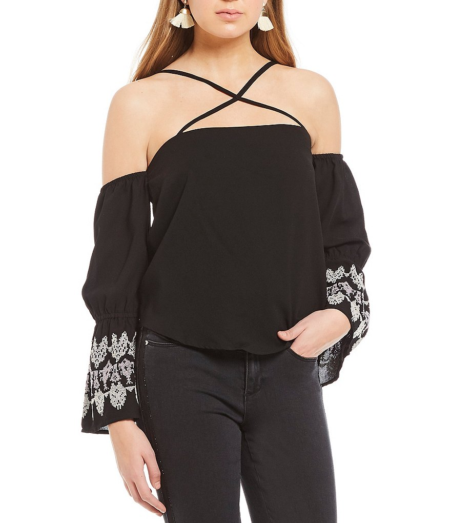 Ban Jara Off-The Shoulder Embroidered Bell Sleeve Top