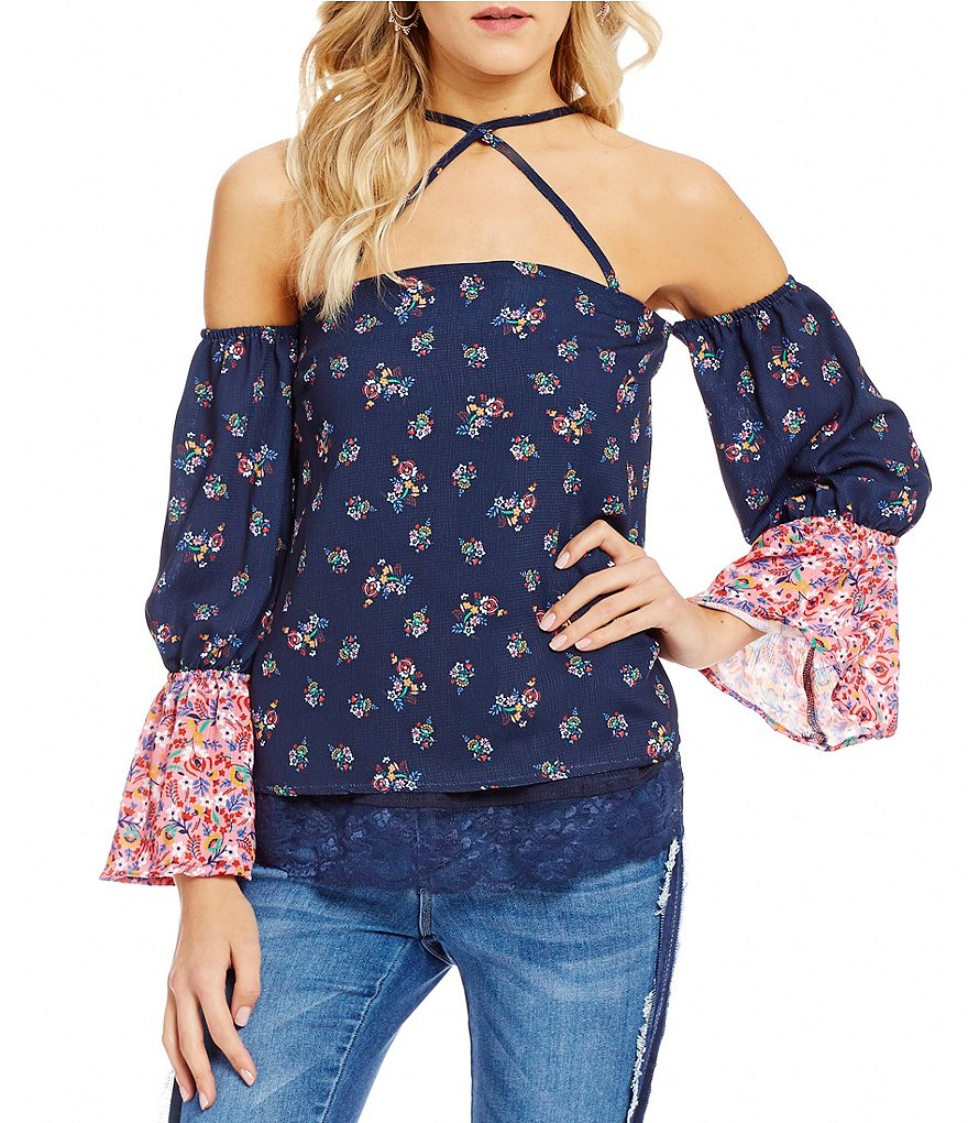 Ban Jara Printed Cross-Cross Front Off-The-Shoulder Bell Sleeve Top
