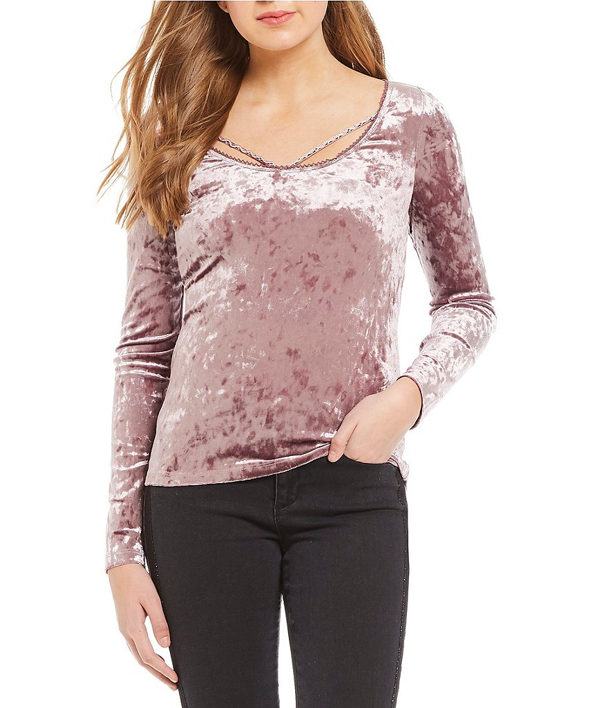 Ban Jara Velvet Braid Trim Long Sleeve Pullover