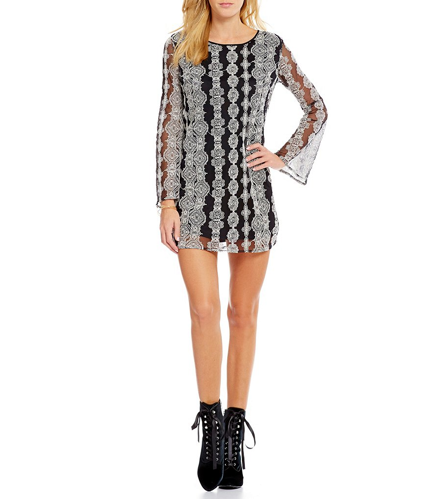 Band Of Gypsies Bell Sleeve Geometric Embellished Mesh Dress