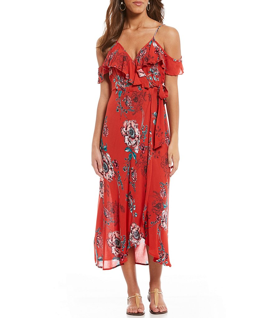 Band Of Gypsies Cold Shoulder Printed Ruffle Wrap Style Midi Dress