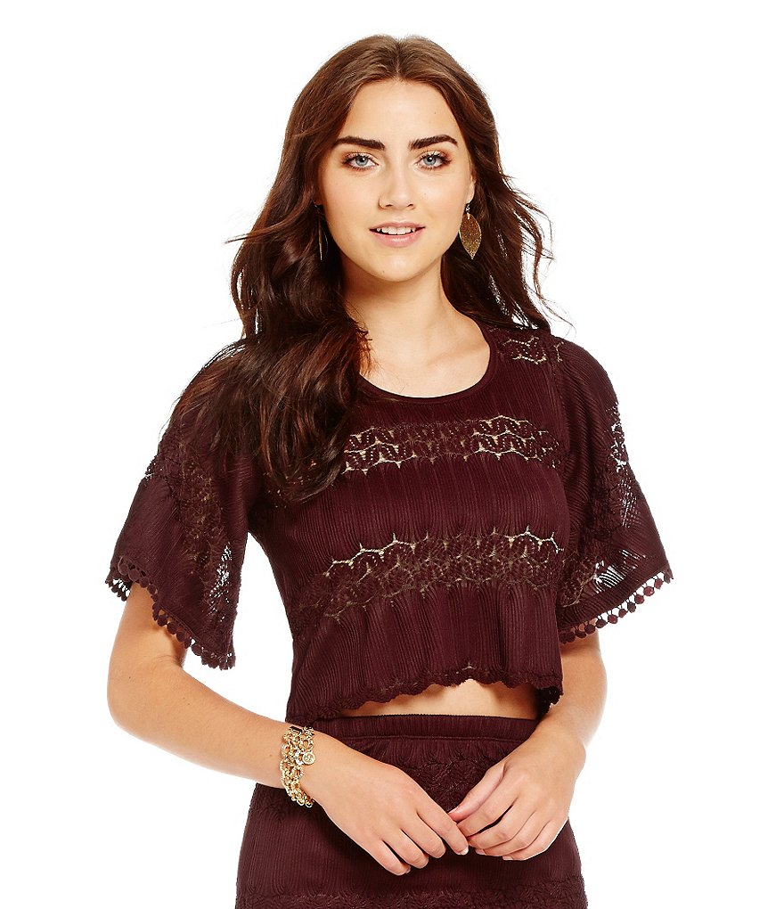 Band Of Gypsies Crochet Banded Crop Top