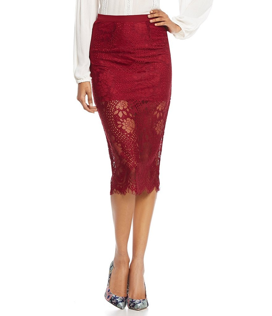 Band Of Gypsies Lace Midi Pencil Skirt