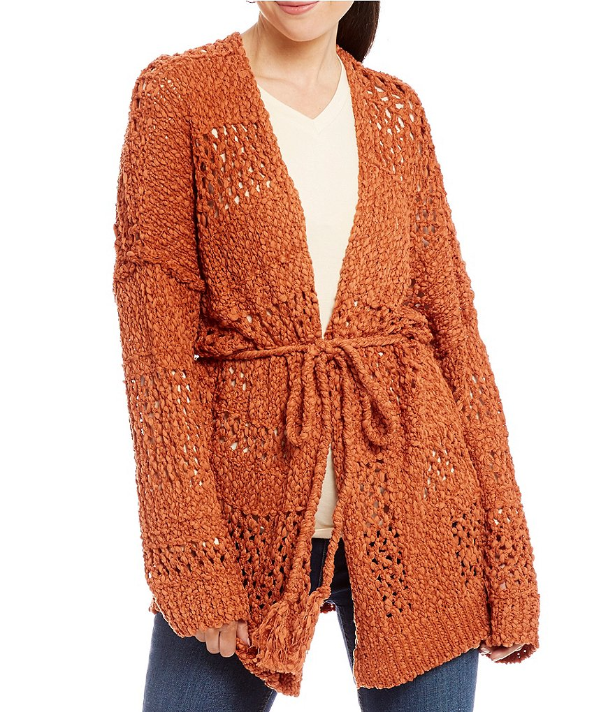 Band Of Gypsies Mix Stitch Open Front Cardigan