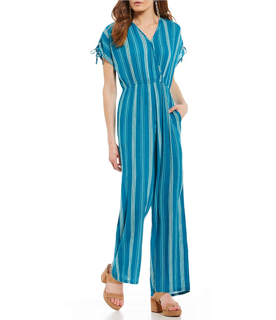 Band Of Gypsies Pinstripe V-Neck Jumpsuit