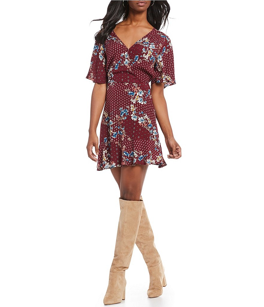 Band Of Gypsies Samantha Floral Print V-Neck Faux Wrap Dress