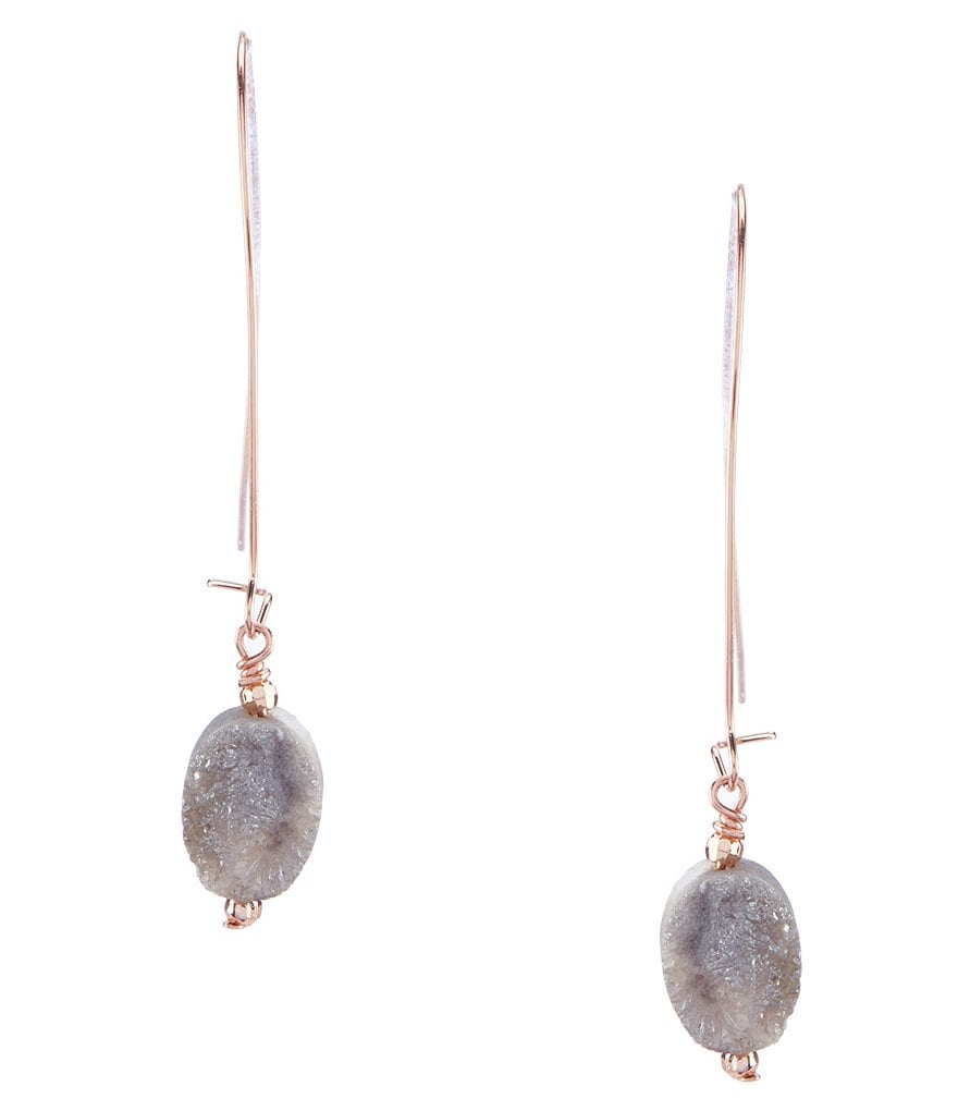 Barse Copper and Drusy Drop Earrings