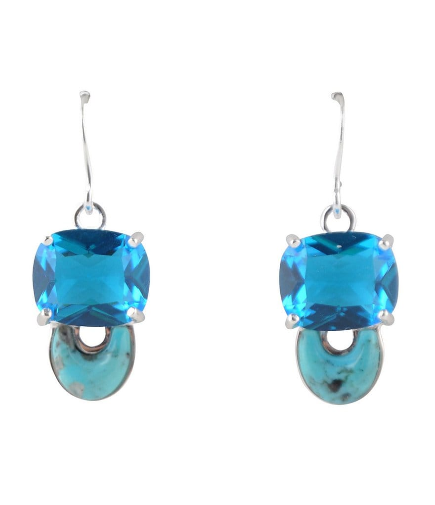 Barse Genuine Agate and Turquoise Double Drop Earrings