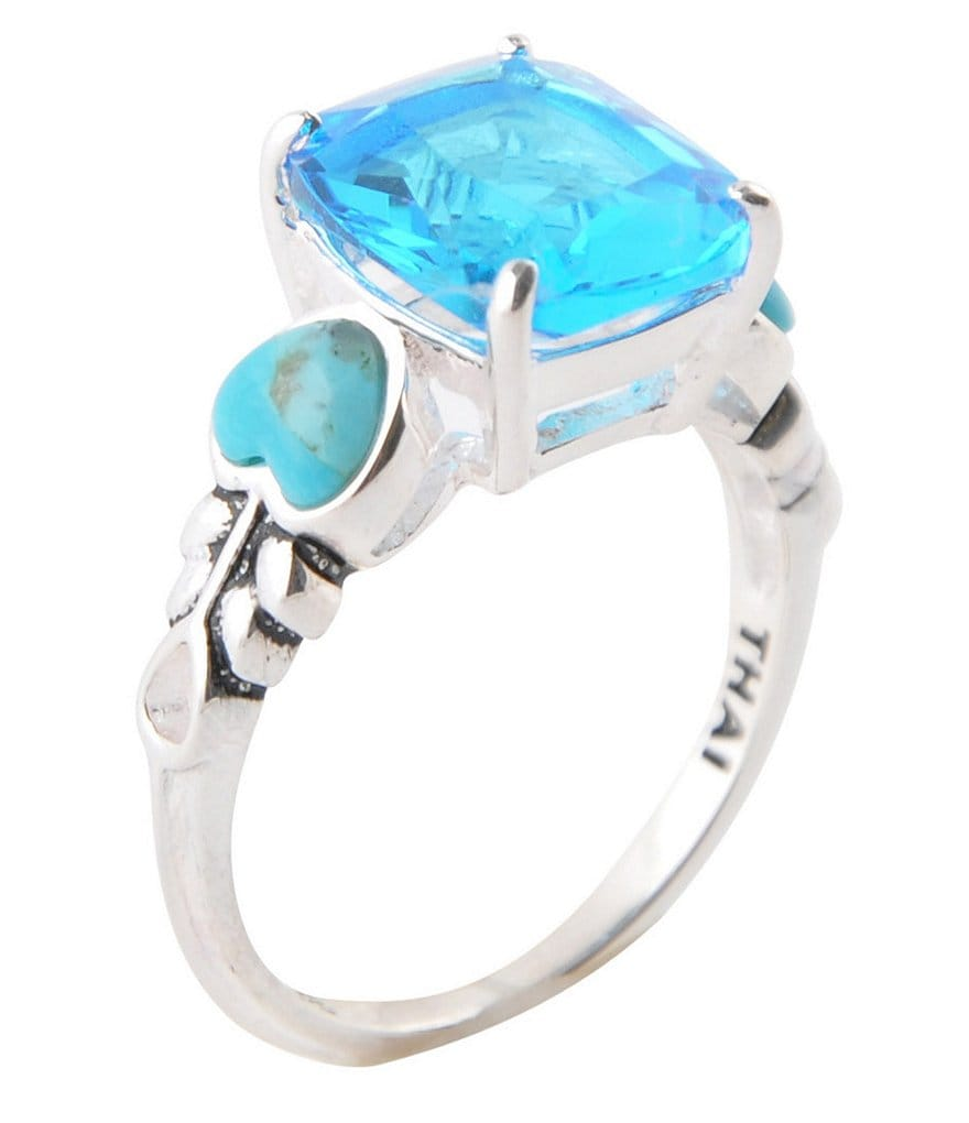 Barse Genuine Agate and Turquoise Stone Ring