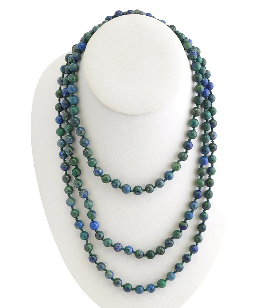 Barse Genuine Azurite Stone Wrap Necklace