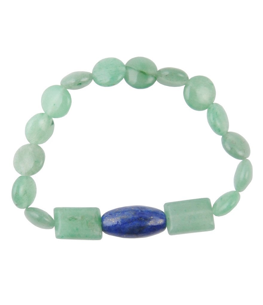 Barse Genuine Jade and Lapis Stone Stretch Bracelet