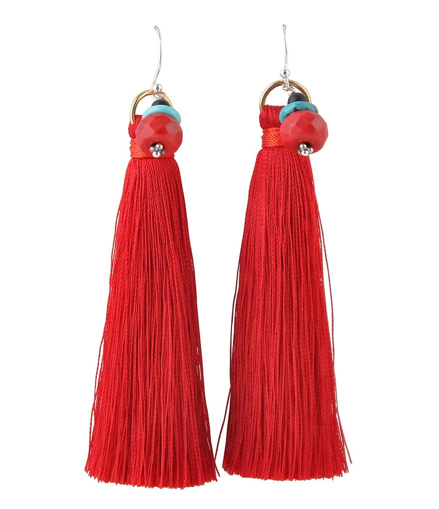 Barse Genuine Turquoise, Black Onyx and Red Sea Bamboo Beaded Tassel Statement Earrings
