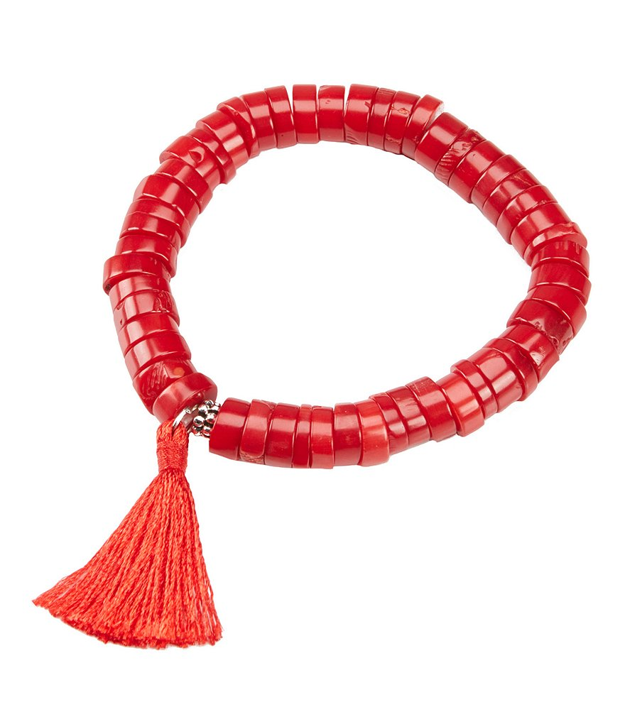 Barse Red Sea Bamboo Bead and Tassel Stretch Bracelet