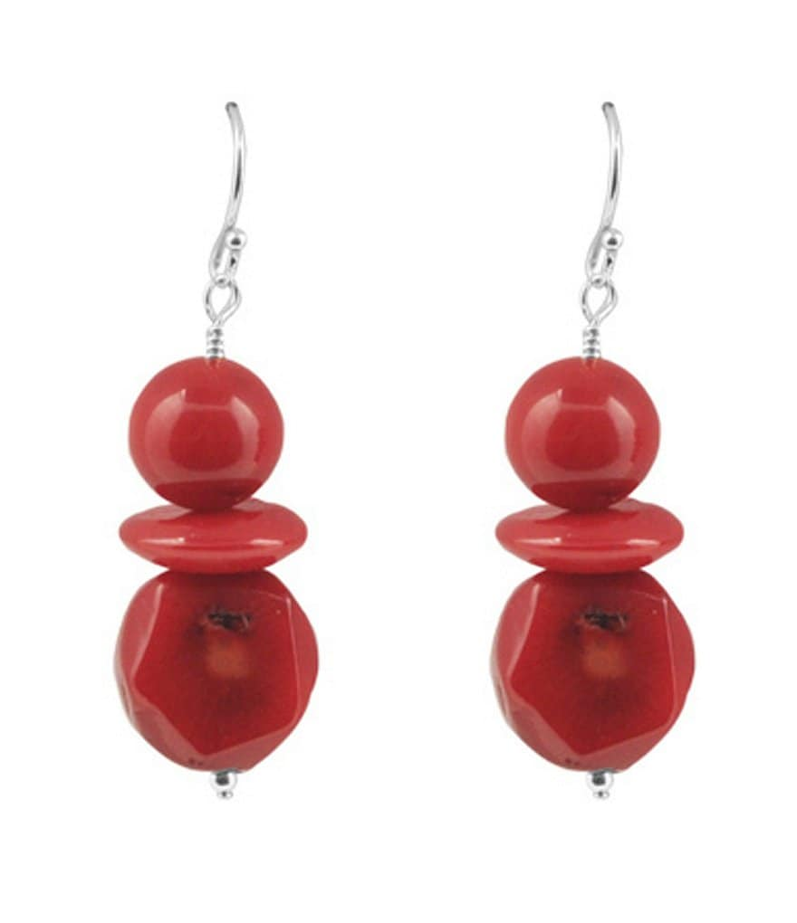 Barse Red Sea Bamboo Drop Earrings