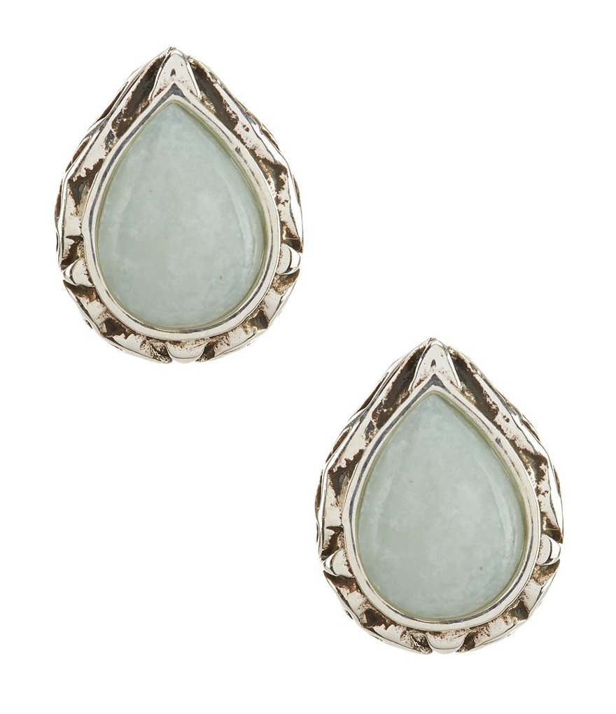 Barse Sterling Silver & Amazonite Stud Statement Earrings