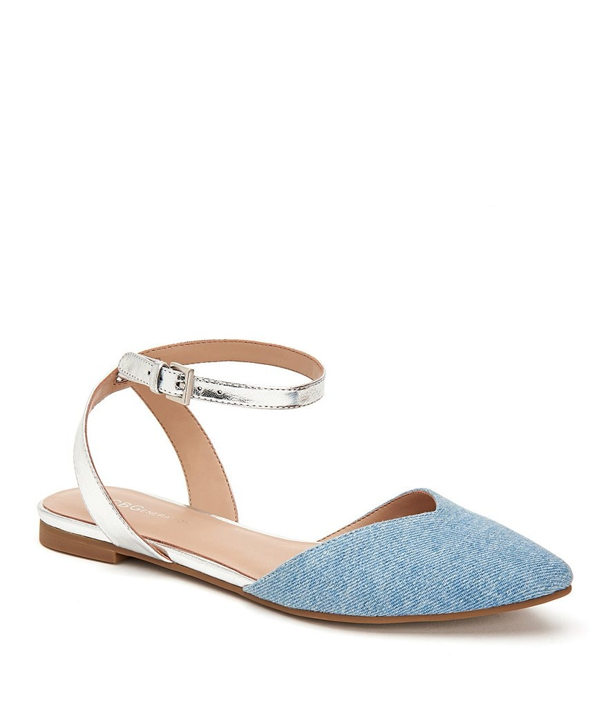 BCBGeneration Mae Metallic Synthetic Denim Fabric Ankle Strap Flats