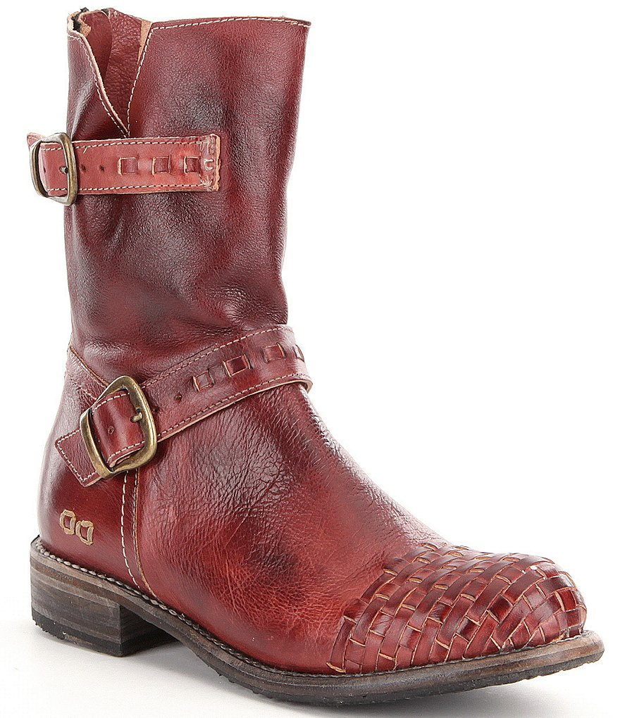 Bed Stu Ashwell Woven Toe Leather Buckle Strap Detail Boots