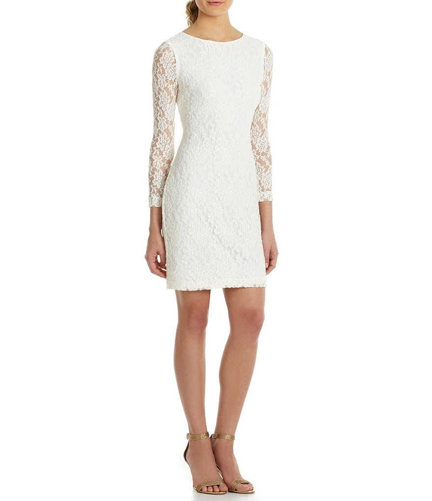 Belle Badgley Mischka 3/4 Sleeve Foiled Lace Dress